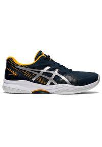 Asics - Buty tenisowe męskie na każdą nawierzchnię ASICS Gel Game 8. Kolor: żółty, wielokolorowy, szary, niebieski. Materiał: mesh. Szerokość cholewki: normalna. Sport: tenis