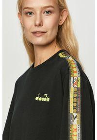 Czarna bluzka Diadora z aplikacjami, na co dzień, casualowa