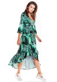 Awama - Zielona Asymetryczna Sukienka Midi z Florystycznym Motywem. Kolor: zielony. Materiał: poliester, elastan. Wzór: kwiaty. Typ sukienki: asymetryczne. Długość: midi