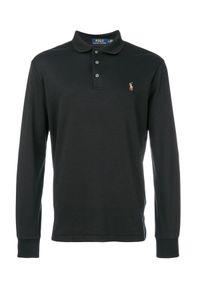 Ralph Lauren - RALPH LAUREN - Czarna bluzka polo z haftowanym logo. Typ kołnierza: polo. Kolor: czarny. Materiał: bawełna. Długość rękawa: długi rękaw. Długość: długie. Wzór: haft. Styl: klasyczny
