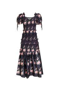 Czarna sukienka LoveShackFancy z falbankami, gorsetowa