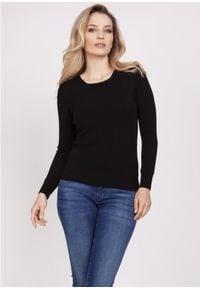 MKM - Klasyczny Sweter z Półkrągłym Dekoltem - Czarny. Kolor: czarny. Materiał: wiskoza. Styl: klasyczny