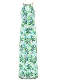 Długa sukienka bonprix zielony z roślinnym nadrukiem. Typ kołnierza: dekolt halter. Kolor: zielony. Wzór: nadruk. Długość: maxi