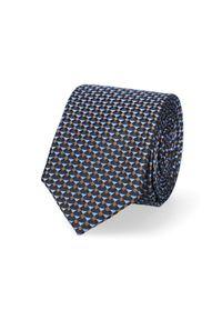 Lancerto - Krawat Granatowy Wzór Geometryczny. Kolor: niebieski. Materiał: tkanina, jedwab. Wzór: geometria. Styl: elegancki