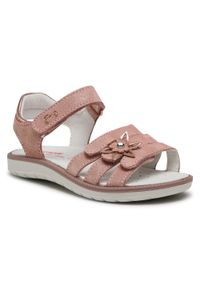 Różowe sandały Primigi na lato, z aplikacjami