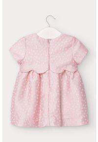 Różowa sukienka Mayoral mini, rozkloszowana, z krótkim rękawem