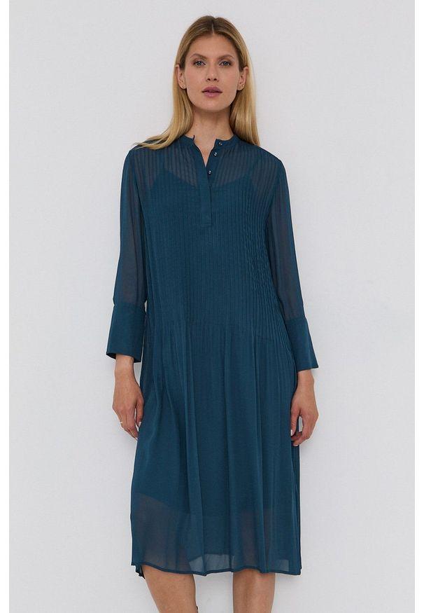 Samsoe & Samsoe - Samsoe Samsoe - Sukienka. Okazja: na co dzień. Kolor: zielony. Materiał: włókno, tkanina, materiał. Długość rękawa: długi rękaw. Wzór: gładki. Typ sukienki: proste. Styl: casual