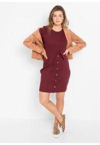 Sukienka w prążek z bawełny organicznej z ozdobnymi guzikami bonprix czerwony rubinowy. Kolor: czerwony. Materiał: bawełna. Wzór: prążki