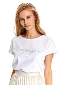 Biały t-shirt TOP SECRET elegancki, z klasycznym kołnierzykiem, krótki, z krótkim rękawem