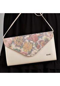 Beżowa kopertówka ROVICKY wizytowa, skórzana, na ramię, w kwiaty