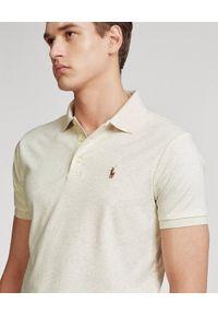 Ralph Lauren - RALPH LAUREN - Beżowa koszulka polo Custom Slim Fit. Typ kołnierza: polo. Kolor: beżowy. Materiał: tkanina, bawełna, prążkowany. Wzór: haft #3