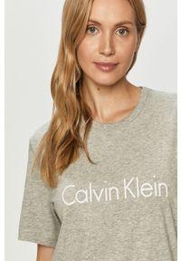 Szara bluzka Calvin Klein Underwear casualowa, z nadrukiem, na co dzień, z okrągłym kołnierzem