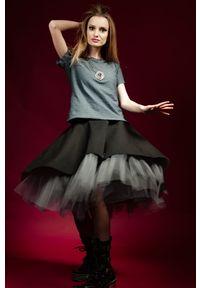 Czarna spódnica Hultaj Polski krótka, w kolorowe wzory