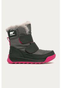 Szare buty zimowe sorel z okrągłym noskiem, z cholewką