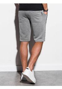 Ombre Clothing - Krótkie spodenki męskie dresowe W242 - szary melanż - XL. Kolor: szary. Materiał: dresówka. Długość: krótkie. Wzór: melanż