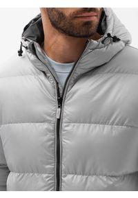 Ombre Clothing - Kurtka męska pikowana C503 - jasnoszara - XXL. Kolor: szary. Materiał: poliester