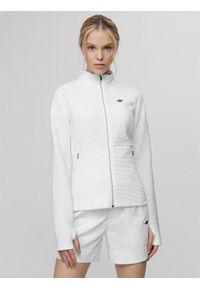 Biała bluza rozpinana 4f raglanowy rękaw, ze stójką