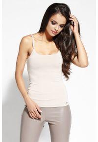 Dursi - Beżowa Bluzka na Ramiączkach z Pęknięciem. Kolor: beżowy. Materiał: wiskoza, elastan. Długość rękawa: na ramiączkach