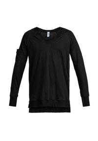 ROBERT KUPISZ - Czarny t-shirt Now. Kolor: czarny. Materiał: dresówka, bawełna. Długość rękawa: długi rękaw. Długość: długie. Wzór: kolorowy. Sezon: lato