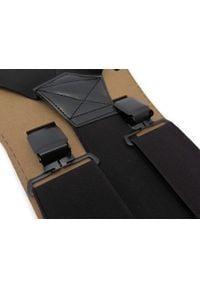 Modini - Szerokie czarne szelki męskie do spodni T15. Kolor: czarny. Materiał: skóra, guma