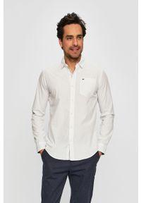 Biała koszula Tommy Jeans z klasycznym kołnierzykiem, na co dzień, klasyczna, długa