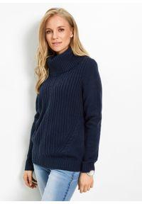 Niebieski sweter bonprix z golfem