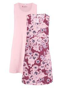 Sukienka z dżerseju (2 szt.) bonprix jeżynowy w kwiaty + pastelowy jasnoróżowy. Kolor: fioletowy. Materiał: jersey. Wzór: kwiaty
