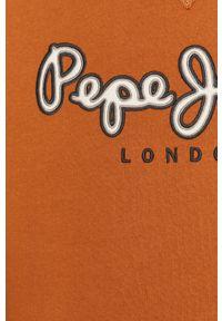 Brązowa bluza nierozpinana Pepe Jeans z nadrukiem, bez kaptura