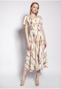 e-margeritka - Sukienka wizytowa midi z odkrytymi ramionami - 42. Materiał: tkanina, materiał, poliester. Długość rękawa: krótki rękaw. Typ sukienki: z odkrytymi ramionami. Styl: wizytowy. Długość: midi