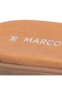 Brązowe klapki Marco Tozzi na co dzień, z aplikacjami, casualowe