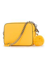 Żółta listonoszka Wittchen z pomponami, z aplikacjami, futrzana