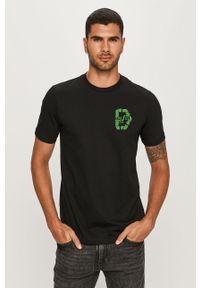 Czarny t-shirt Diesel z okrągłym kołnierzem, z nadrukiem, casualowy