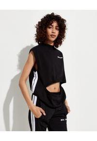 PALM ANGELS - T-shirt z wycięciem. Kolor: czarny. Materiał: bawełna. Wzór: aplikacja