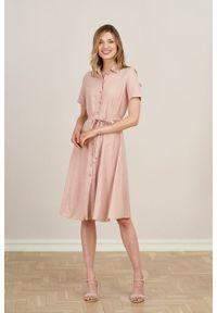 Marie Zélie - Sukienka Marina wiskoza z bawełną pudrowy róż. Kolor: różowy. Materiał: bawełna, wiskoza. Sezon: lato. Typ sukienki: szmizjerki