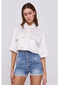 Miss Sixty - Koszula. Kolor: biały. Materiał: tkanina. Długość rękawa: krótki rękaw. Długość: krótkie. Wzór: gładki