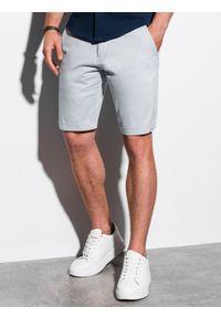 Ombre Clothing - Krótkie spodenki męskie casual W243 - jasnoszare - XXL. Okazja: na co dzień. Kolor: szary. Materiał: bawełna, elastan. Długość: krótkie. Sezon: lato. Styl: casual #1