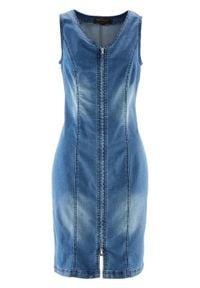 """Sukienka dżinsowa z zamkiem bonprix niebieski """"stone"""". Typ kołnierza: dekolt w serek. Kolor: niebieski. Styl: elegancki"""