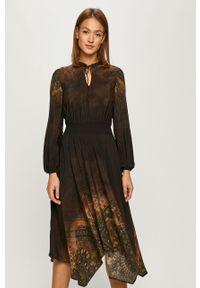 Brązowa sukienka Desigual z długim rękawem, na co dzień, prosta