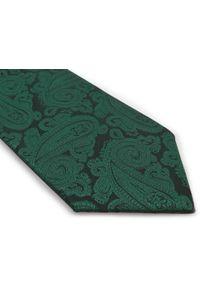 Adam Collection - Zielony krawat męski we wzór - paisley D305. Kolor: zielony. Materiał: tkanina, mikrofibra. Wzór: paisley