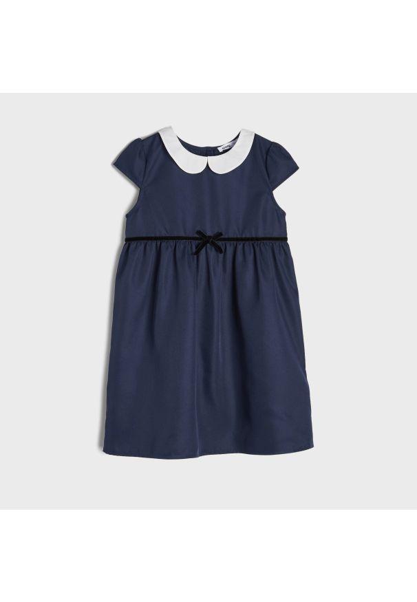 Sinsay - Sukienka z kołnierzykiem - Niebieski. Kolor: niebieski