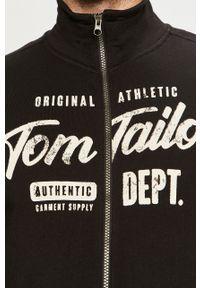 Czarna bluza rozpinana Tom Tailor z nadrukiem, casualowa, bez kaptura