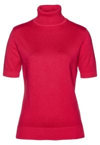 Sweter z golfem, krótki rękaw bonprix czerwień granatu. Typ kołnierza: golf. Kolor: czerwony. Długość rękawa: krótki rękaw. Długość: krótkie. Styl: klasyczny