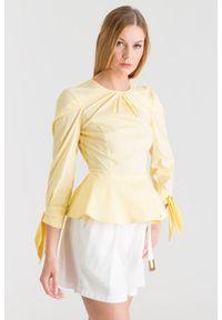 Żółta bluzka z baskinką Elisabetta Franchi. Kolor: żółty. Styl: rockowy, elegancki