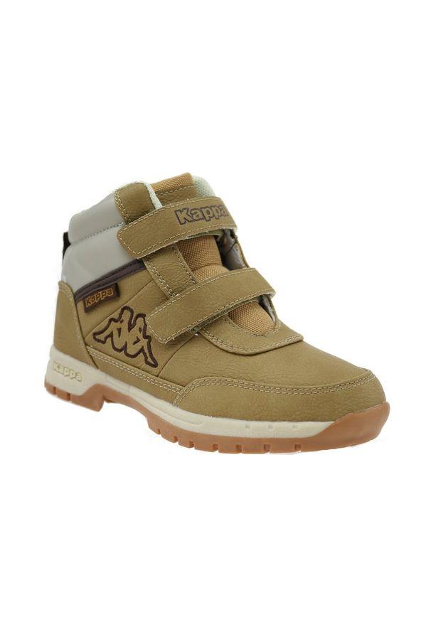 Beżowe buty trekkingowe Kappa z cholewką, w kolorowe wzory
