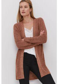 Brązowy sweter rozpinany Jacqueline de Yong na co dzień, gładki