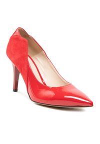 Czerwone półbuty sagan na szpilce, eleganckie, z cholewką
