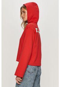 Czerwona bluza Champion długa, z długim rękawem, z kapturem