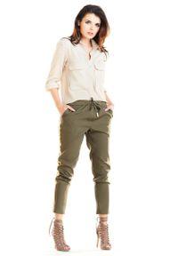 Brązowe spodnie Awama na co dzień, casualowe