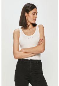 Biały top Calvin Klein Jeans casualowy, z nadrukiem, na co dzień