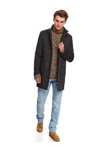 TOP SECRET - Klasyczny płaszcz ze stójką z wełnianej tkaniny. Okazja: do pracy. Typ kołnierza: kołnierzyk stójkowy. Kolor: szary. Materiał: tkanina, wełna. Wzór: ze splotem. Sezon: zima. Styl: klasyczny